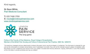 London Pain Service email signature by Maroon Balloon