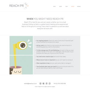 Reach PR desktop website by Maroon Balloon