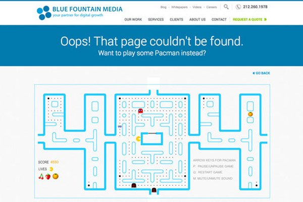 404 error page example Blue Fountain-media-pacman