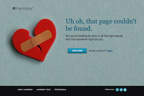 404 error page example eHarmony