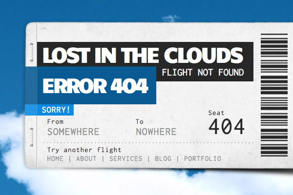 404 error page example Lost in the Clouds