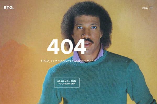 404 error page example STG (Lionel Richie)