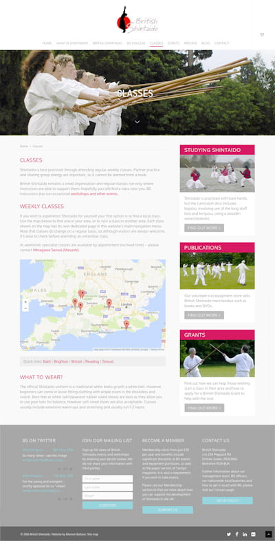 British Shintaido Classes page by Maroon Balloon