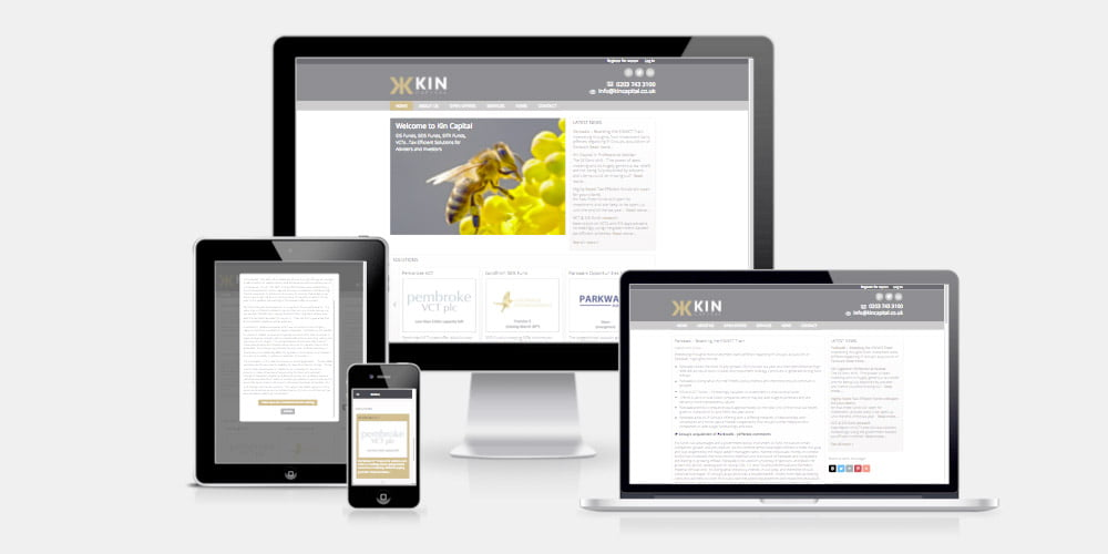 Kin Capital website by Maroon Balloon