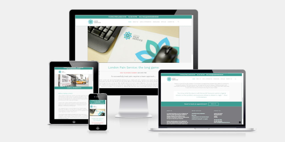 London Pain Service website by Maroon Balloon
