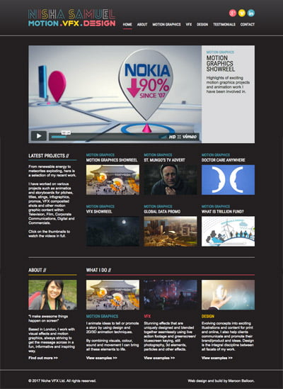 Nisha Samuel VFX homepage by Maroon Balloon