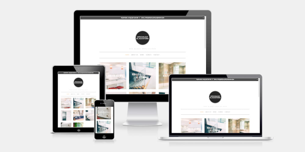 Specialist Glasswork responsive website by Maroon Balloon