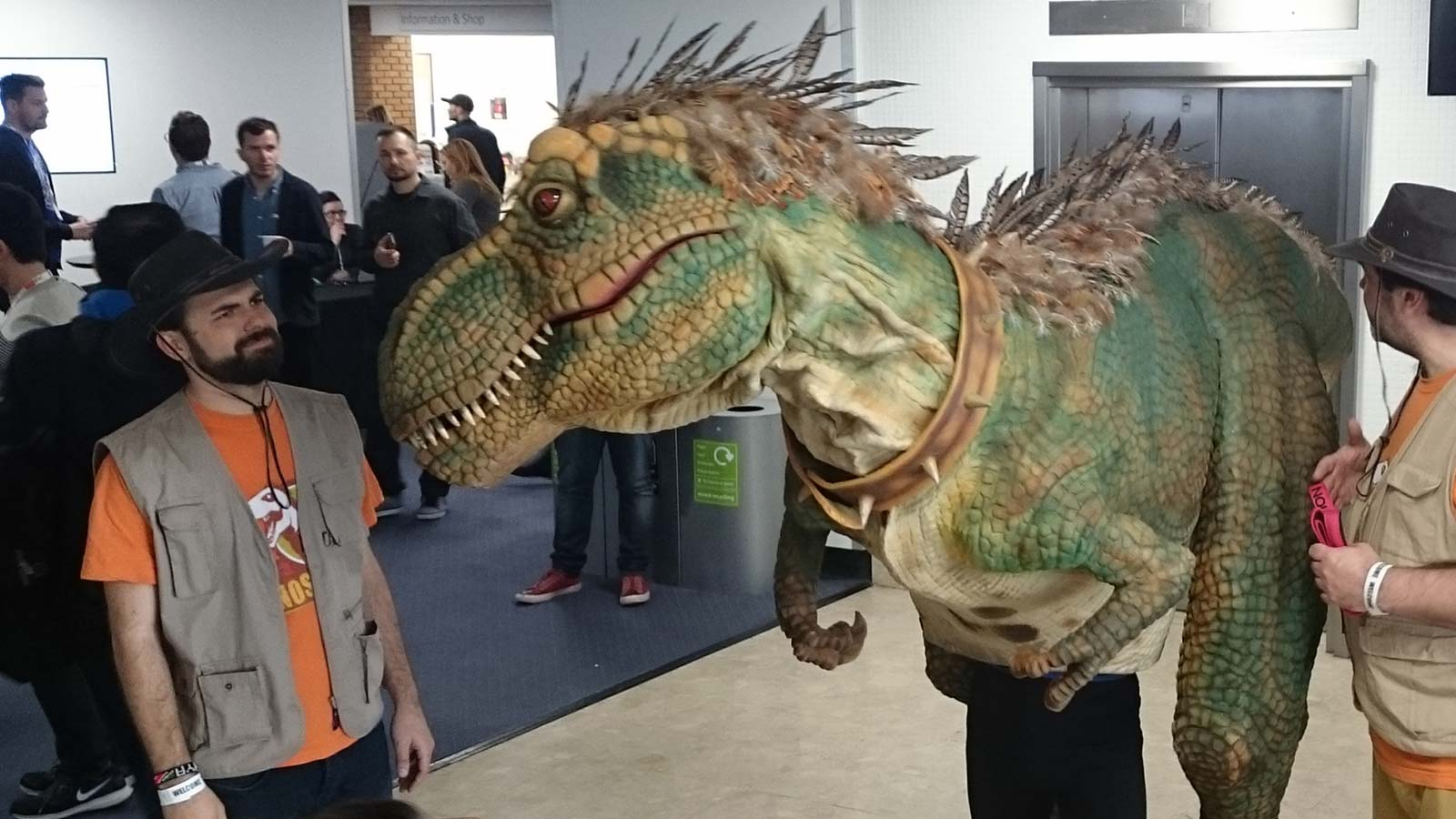 T-Rex dinosaur at #brightonSEO conference